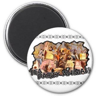 Animal de fiesta del té (recorte) imán redondo 5 cm