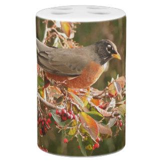 Animal de la fauna del pájaro de Redbreast del Vaso Para Cepillos De Dientes