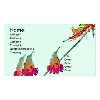 Animal de la fauna del pájaro del colibrí floral tarjetas de visita