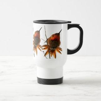 Animal de la fauna del pájaro del colibrí floral taza de viaje
