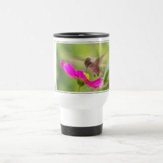 Animal de la fauna del pájaro del colibrí floral taza de viaje de acero inoxidable