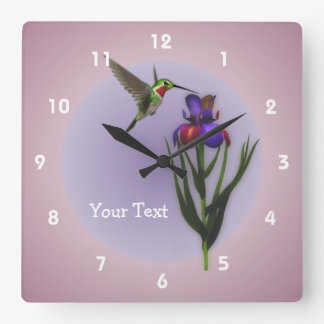 Animal de la flor del colibrí y del iris relojes de pared