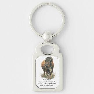Animal de la guía del alcohol del tótem del búfalo llavero plateado rectangular