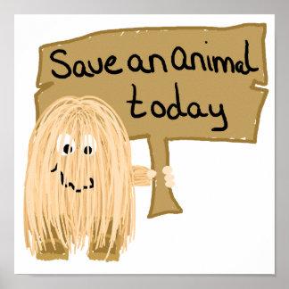 Animal de la reserva del melocotón poster