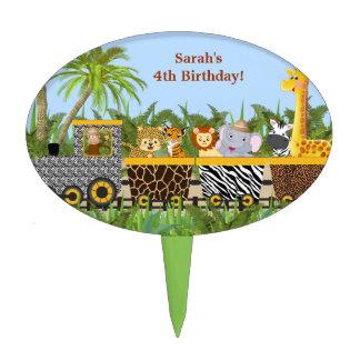 Animal de la selva del safari en primero de la decoración de tarta