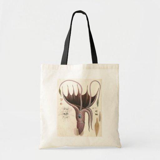 Animal de la vida marina del vintage, calamar del bolsa tela barata