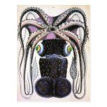 Animal de la vida marina del vintage, pulpo postal