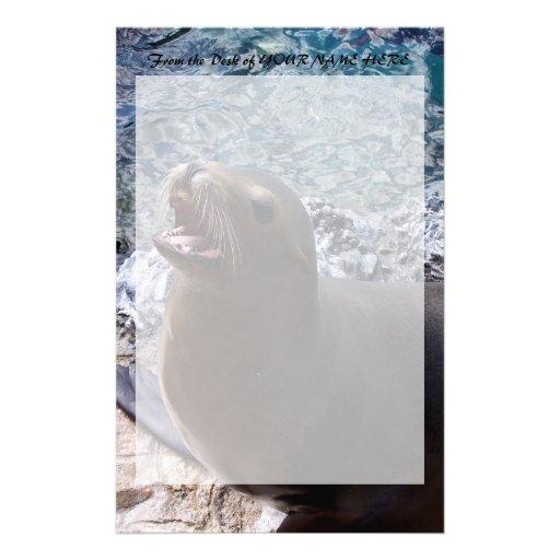animal de mar lindo de la foto abierta de la boca  papelería de diseño