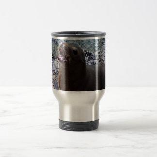 animal de mar lindo de la foto abierta de la boca taza de viaje de acero inoxidable