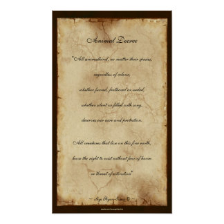 """Animal Decree"" Parchment-style Poetry Poster"