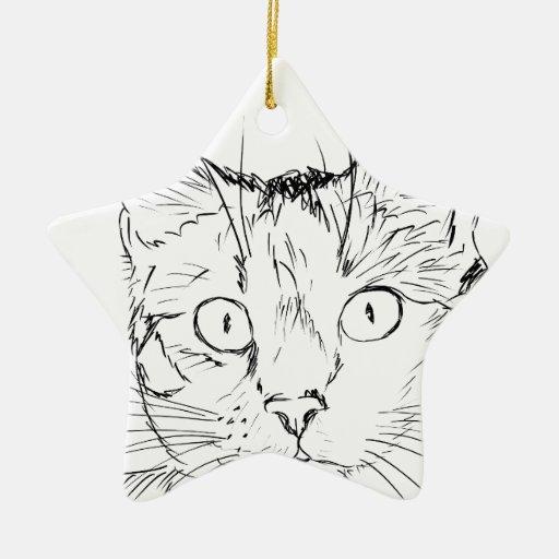 Animal del gato del bosquejo ornamento de navidad