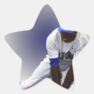 Animal del lobo del monstruo del béisbol pegatina en forma de estrella
