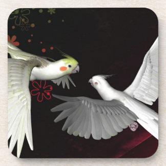 Animal del pájaro de dos loros posavaso