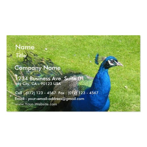 Animal del pavo real plantillas de tarjetas personales