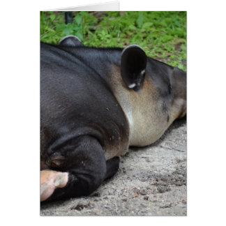 animal del tapir el dormir del critter trasero del tarjeta de felicitación