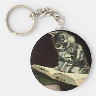 Animal del vintage, libro de lectura lindo del llavero redondo tipo pin