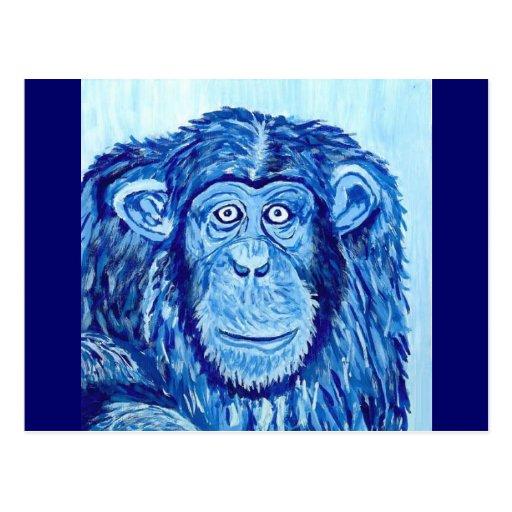 Animal divertido del mono azul del chimpancé postal