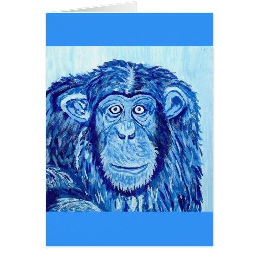 Animal divertido del mono azul del chimpancé tarjetón