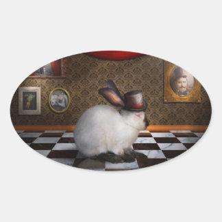 Animal - el conejo pegatinas de óval