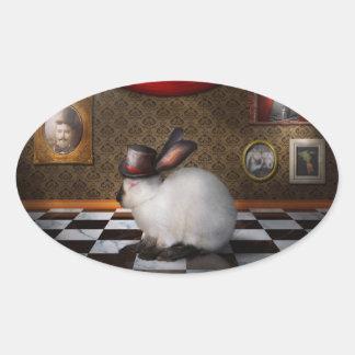 Animal - el conejo - versión reversa colcomanias de óval personalizadas