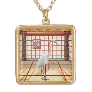 Animal - el Egret Colgante Cuadrado