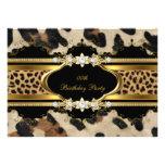Animal elegante del oro del leopardo de la fiesta  invitación personalizada
