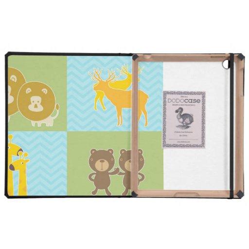 Animal en galón del zigzag - verde lima y azul iPad carcasa