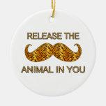 Animal en usted bigote de la raya del tigre ornaments para arbol de navidad