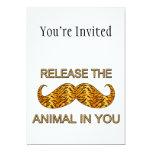 Animal en usted bigote de la raya del tigre invitación 12,7 x 17,8 cm
