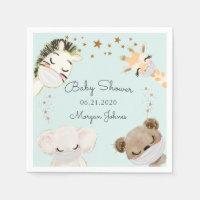animal face masks baby shower monogram napkins