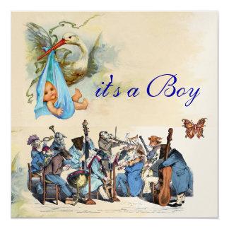 ANIMAL FARM ORCHESTRA / BLUE STORK BOY BABY SHOWER CARD
