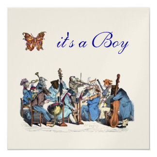 ANIMAL FARM ORCHESTRA BOY BABY SHOWER PERSONALIZED ANNOUNCEMENT