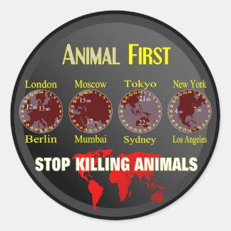 Animal First Classic Round Sticker
