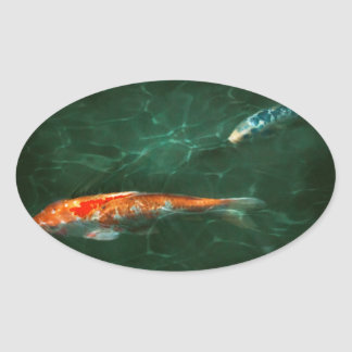Animal - Fish - Koi - Another fish story Oval Sticker