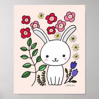 Animal floral de conejito del conejo del cuarto de póster
