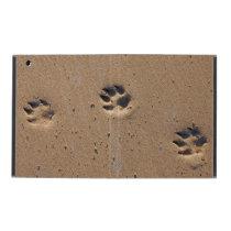Animal footprints in the sand iPad case
