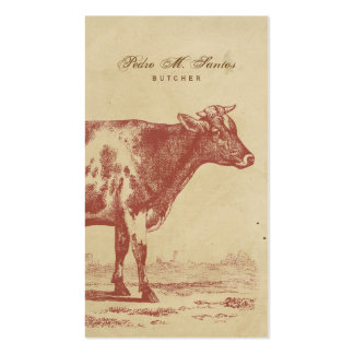 Animal fresco simple rústico de la vaca de leche d tarjeta de visita