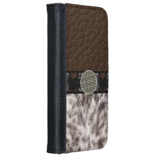 Animal Fur Heart Leopard Monogram Wallet Phone Case For iPhone 6/6s
