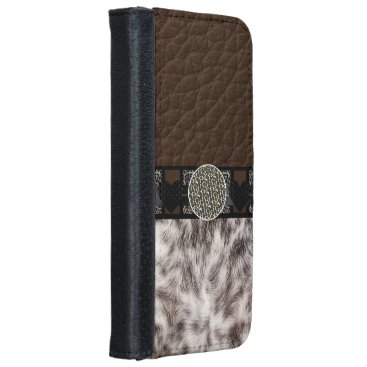 Valentines Themed Animal Fur Heart Leopard Monogram Wallet Phone Case For iPhone 6/6s