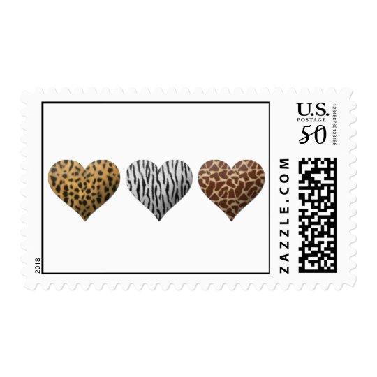 animal fur hearts postage
