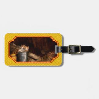 Animal - gato - cubo de diversión etiquetas para maletas