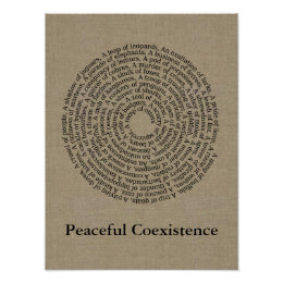 Animal Group Names/Peaceful Coexistence Faux Linen Poster