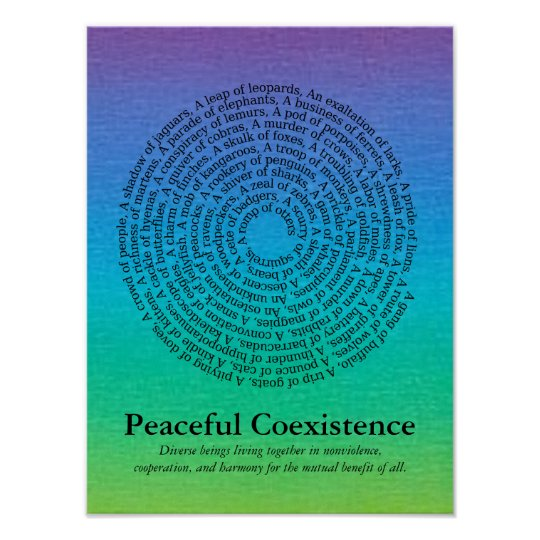 animal group names peaceful coexistence poster zazzle com