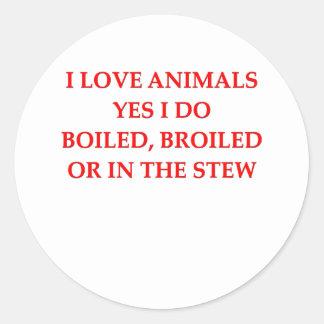 animal hater round sticker