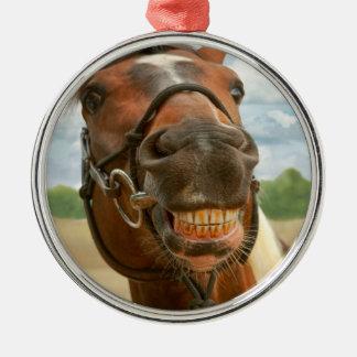 Animal - Horse - I finally got my braces off Round Metal Christmas Ornament