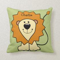 Animal Illustrations custom name kids throw pillow