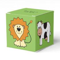 Animal illustrations custom text kids' favor boxes