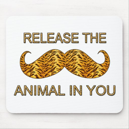 Animal In You Tiger Stripe Mustache Mouse Pad