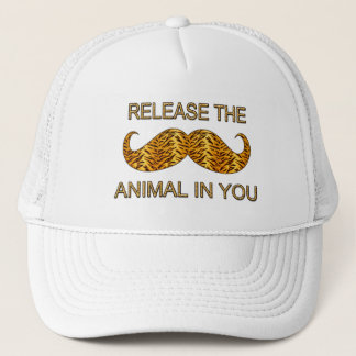 Animal In You Tiger Stripe Mustache Trucker Hat