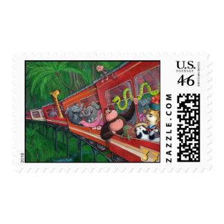 Animal Junge Train Postage Stamps